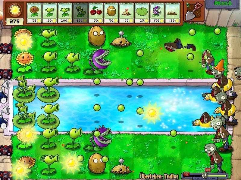 So sieht das Spielfeld in Pflanzen gegen Zombies aus. (Foto: Popcap)