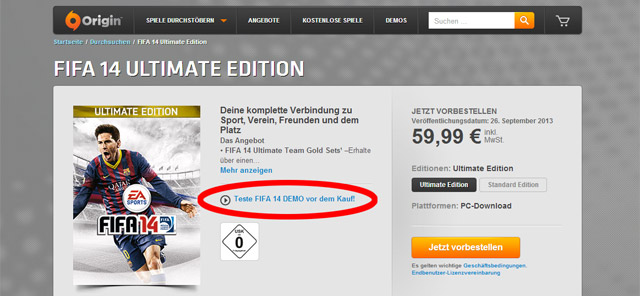 FIFA 14 Demo bei Origin