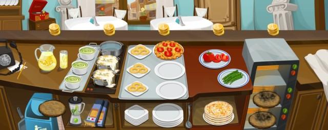Au weia, hier geht alles schief: Nudeln übergekocht, Pizzen auch ein Fall für den Müll und das liegengelassene Geld blockiert neue Gäste.