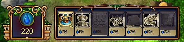 Diese Anzeigen in der Ecke unten links sind das ganze Level über wichtig für dich. Du verfügst über 220 Mana und alle deine fünf Karten müssen gerade noch aufladen. Als nächstes sind Mana-Brunnen, einfache Geschütztürme und Eulen wieder bereit.