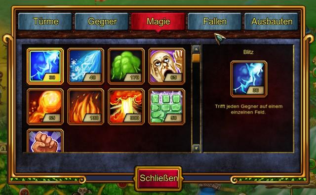 Türme, Gegner, Magie, Fallen und Ausbauten - in der Enzyklopädie kannst nachschlagen, welche es gibt. Auch bevor sie im Spiel freigeschaltet wurden.