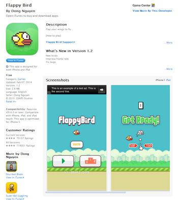 Flappy Bird im Apple App Store - hier wird man es nicht mehr finden.