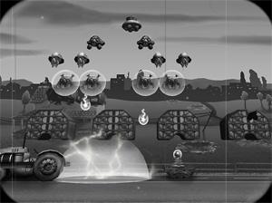 Eine Szene aus dem Spiel Invaders! From outer Space.