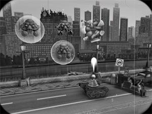 Invaders! From Outer Space orientiert sich grafisch an den trashigen 50er-Jahre-Filmen, als die Welt noch Schwarz-Weiß war.