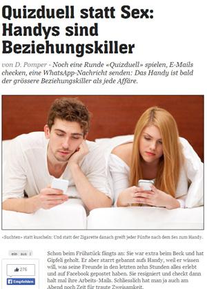 """""""Quizduell statt Sex"""" - so macht 20min.ch einen Artikel über Handy-Sucht auf. Liegen die Kollegen richtig?"""