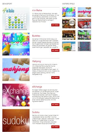 Der Spielesnacks.de Playground bietet populäre Onlinespiele zum Nulltarif.