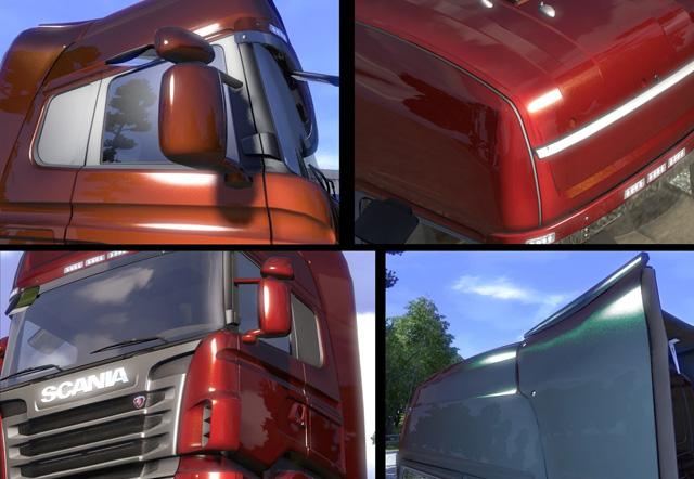 Ein LKW im Euro Truck Simulator 2 mit Flik-Flak-Lackierung. Mit dieser speziellen Lackiermethode erscheint die Oberfläche in jedem Blickwinkel etwas anders.