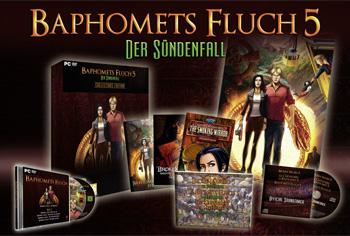 So sieht die Collector's Edition von Baphomets Fluch 5 aus. Sie besteht aus dem Standard-Spiel und vielen zusätzlichen Goodies.