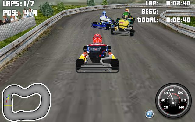 Go Kart 3D kannst du kostenlos im Browser spielen. Und das sogar mit einer flotten 3D-Grafik.