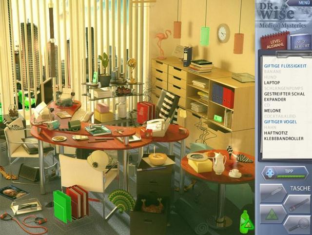 Eine Szene aus dem Wimmelbild-Spiel Dr. Wise -  Wunder der Medizin.
