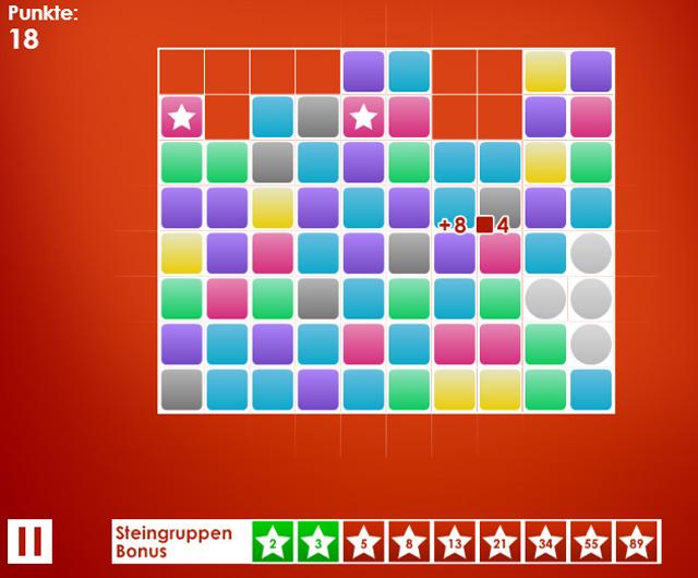 Bunte Knobelei: Beim Onlinespiel Fibonacci sollst du möglichst viele gleichfarbige, zusammenhängende Kästchen anklicken. Gar nicht so einfach!
