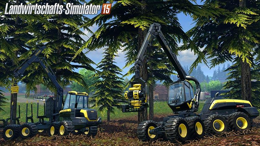 Große Maschinen, mit denen du Bäume fällen und abtransportieren kannst - die wird es Landwirtschafts-Simulator 15 unter anderem geben.