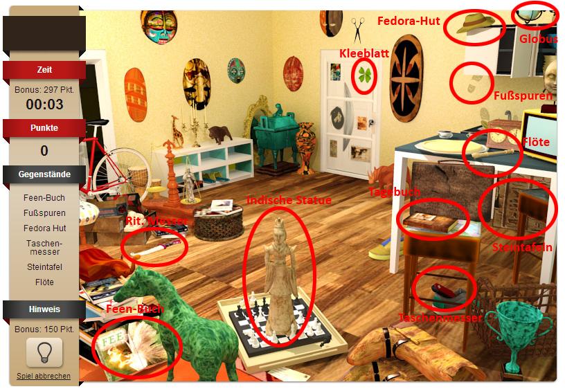 Das erste Level des kr3m Wimmelbild im Spielesnacks.de Playground. Wir haben die am meisten gesuchten Objekte für dich markiert.