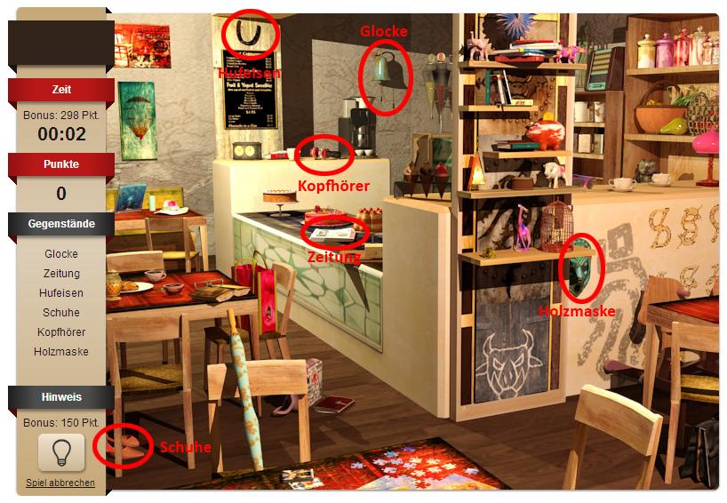 Level 2 ist deutlich kleinteiliger als Level 1 arrangiert. Hier ist es also schwerer, die Gegenstände zu finden. Unsere Markierungen zeigen ein paar mögliche Treffer.