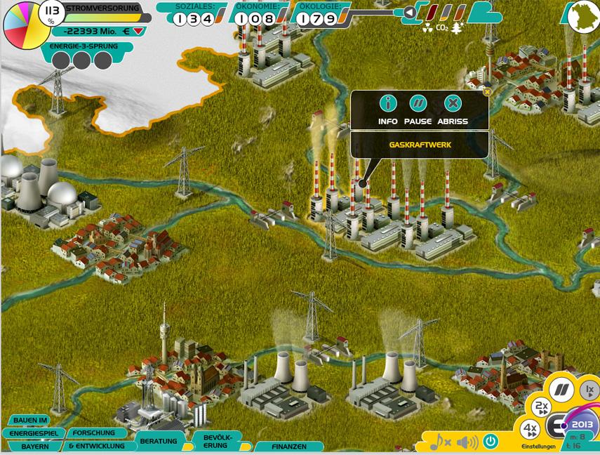 Ein Spiel mit ernstem Hintergrund: Schaffst du es, alternative Energiequellen zu bauen und so die Stromversorgung von Bayern zu sichern?