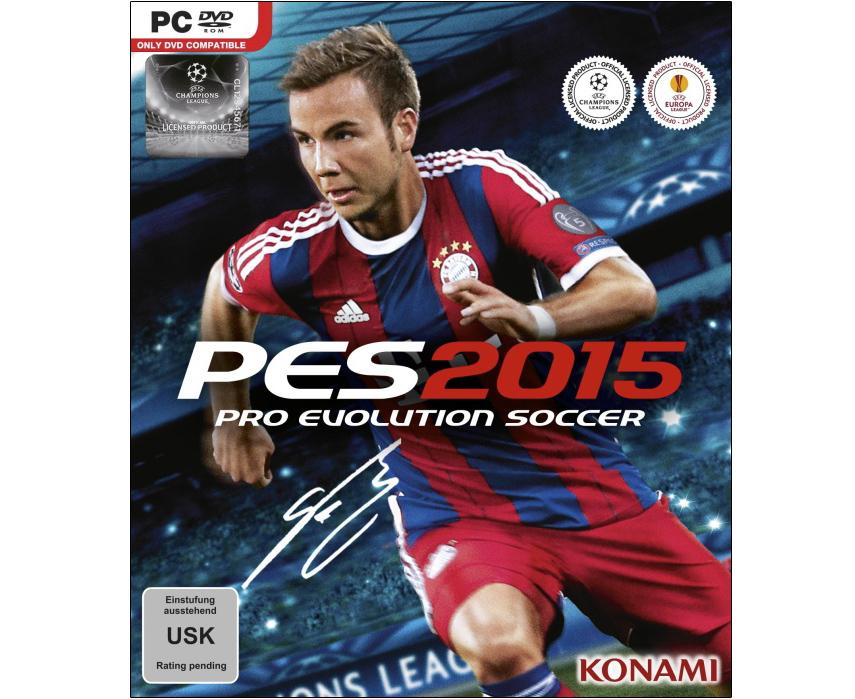 Das offizielle Cover von Pro Evolution Soccer 2015 mit Mario Götze. Die Alterseinstufung (USK-Rating) steht derzeit noch aus.