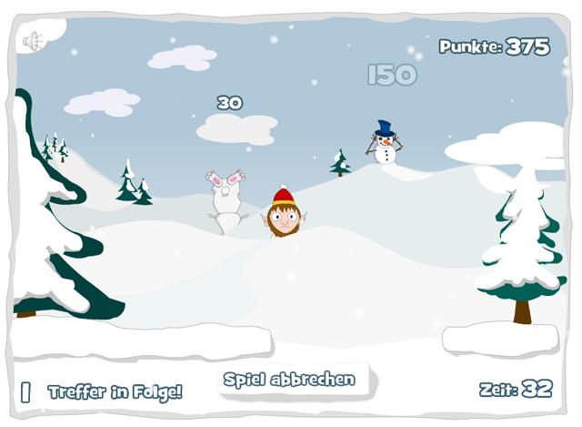 Spielt sich wie Moorhuhn: Das kostenlose Onlinespiel Snowball bietet schnellen Ballerspaß - ideal für zwischendurch.
