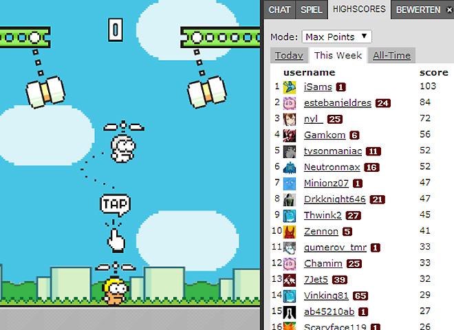 Eine sehr gute Umsetzung von Swing Copters als Onlinespiel findest du bei Kongregate. An der Highscore-Liste siehst du, dass man hier hohe Punktzahlen erreichen kann. Schaffst du das auch?