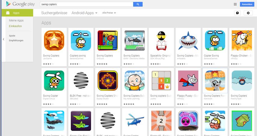 Obwohl Swing Copters gerade erst erscheint, ist der Google Play Store schon voll mit dreisten Imitaten und Möchtegern-Kopien. Frech!