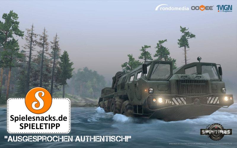 Unser Spielesnacks.de-Logog ziert das Wallpaper, welches Rondomedia zu Spintires - Offroad Truck Simulator veröffentlicht hat.