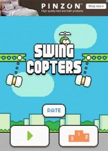 Nervig: Swing Copters zeigt die ganze Zeit blinkende Werbebanner an.