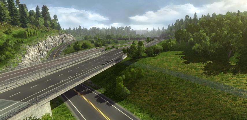 Natur pur: Saftig grüne Wiesen und Wälder wohin das Auge blickt. Und dazwischen natürlich Straßen, die du befahren kannst.