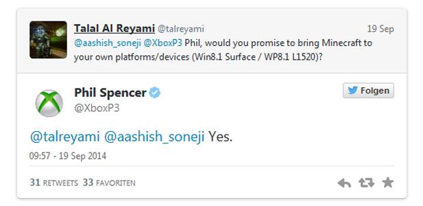 """Nicht gerade spektakulär: So wurde Minecraft für Windows Phone und Surface """"angekündigt""""."""
