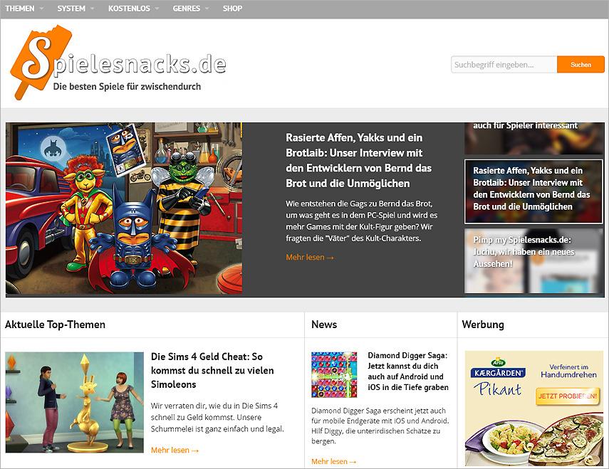Top-Themen, News und mehr: Das neue Design von Spielesnacks.de bietet dir viele Infos auf einen Blick.