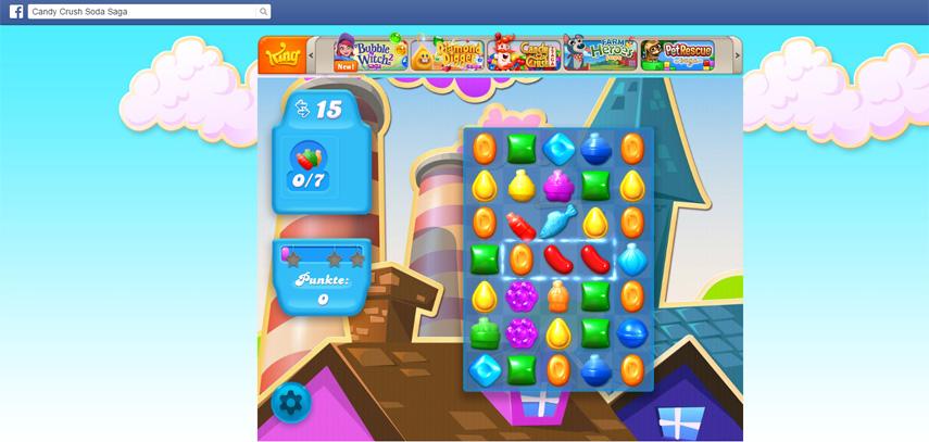 Das erste Level von Candy Crush Soda Saga auf Facebook. Die Mobilfassung wird sicherlich ähnlich aussehen.