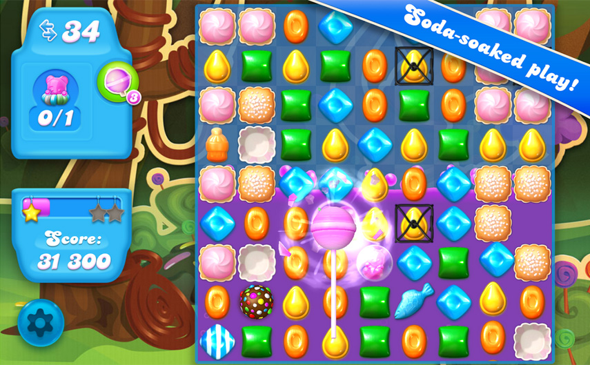 Sieht fast wie das Original aus, ist aber ein neues Spiel: Candy Crush Soda Saga.