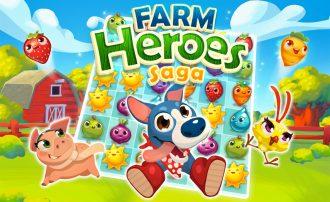 Farbenfroh Denkaufgaben im 3-Gewinnt-Gewand: Das ist Farm Heroes Saga von King.