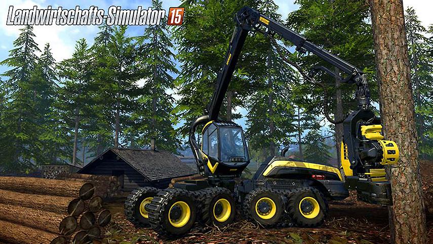 Das ist neu im Farming Simulator 15: Im Wald fällst du Bäume und transportierst sie ab.