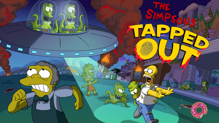 Halloween in Springfield. Die Aliens greifen an, rette die Einwohner!