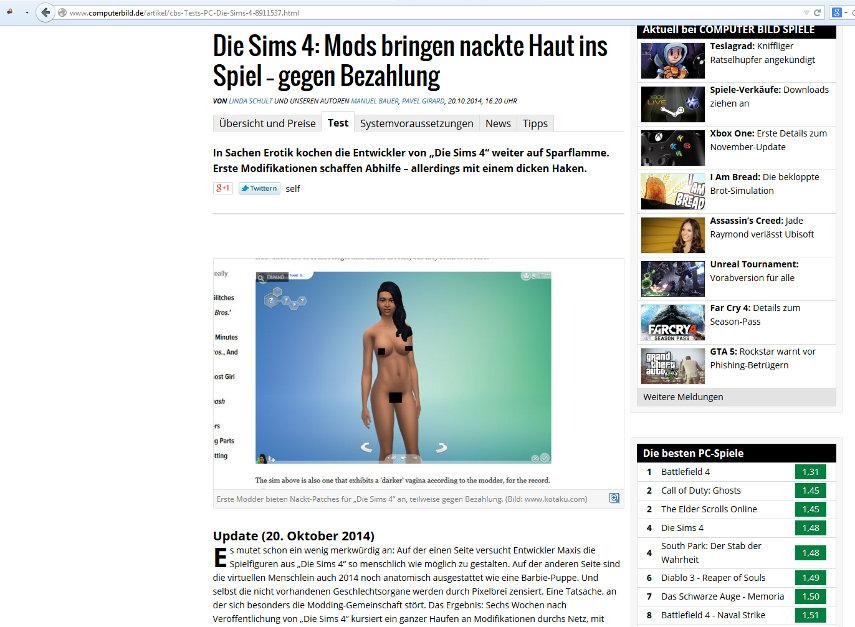 Die Computer Bild kritisiert Modder, die gerne Geld für ihre Arbeit erhalten würden.