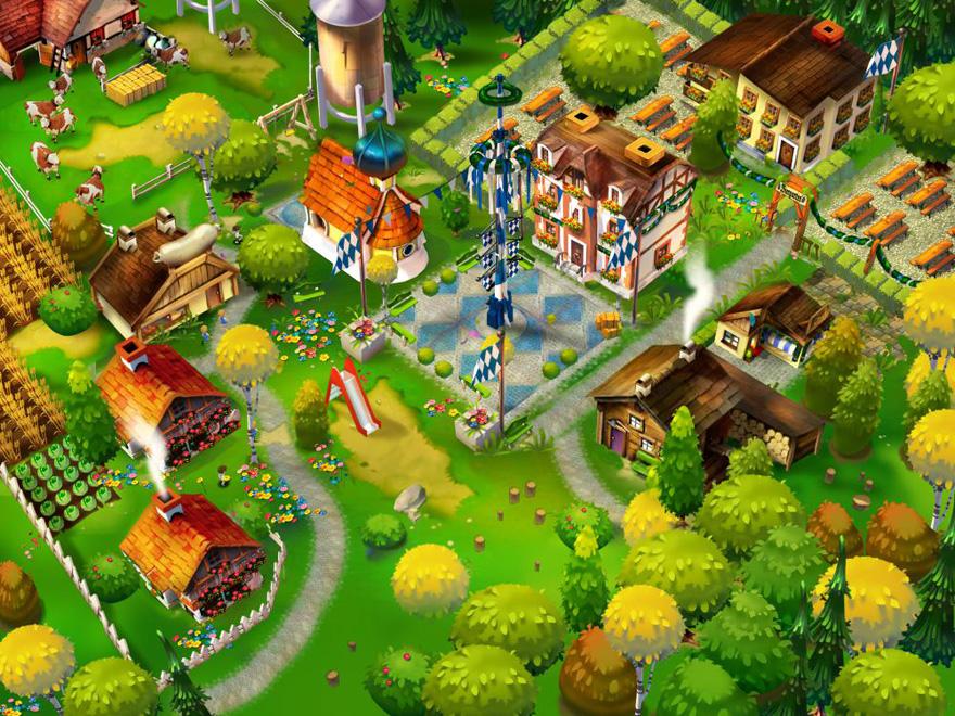 Sieht aus wie eine Mischung aus Farmville und HayDay: Bavariaville.