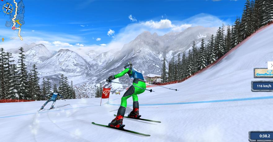 Eine rasante Pistengaudi für Smartphones, Tablets und Computer - das wird das neue Ski Challenge 15.
