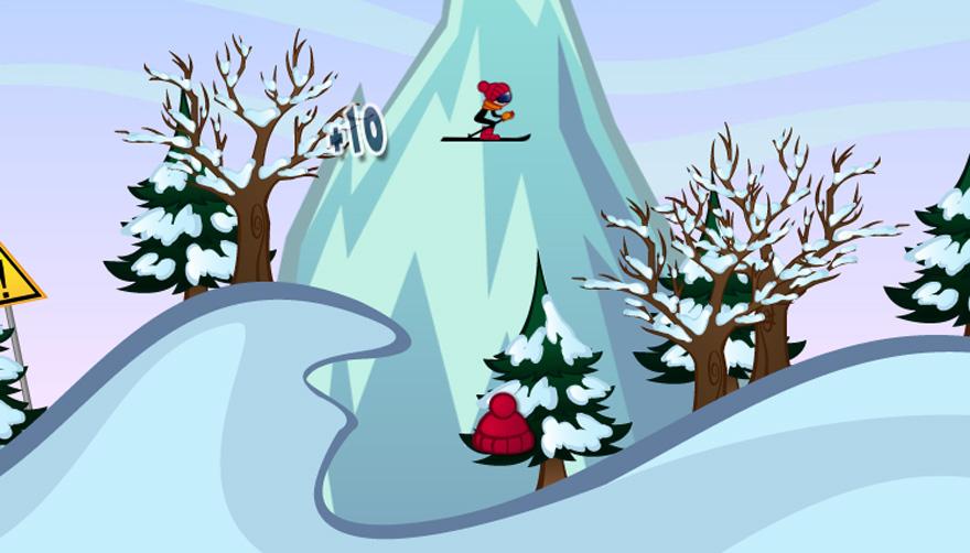 Allein dein Geschick und Können entscheidet darüber, wie lange du Skiracer spielst.