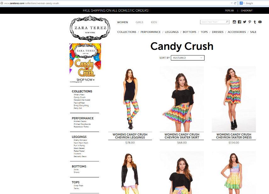 Auf der Zara Terez-Website kannst du dir die Candy Crush Saga-Kollektion bestellen.