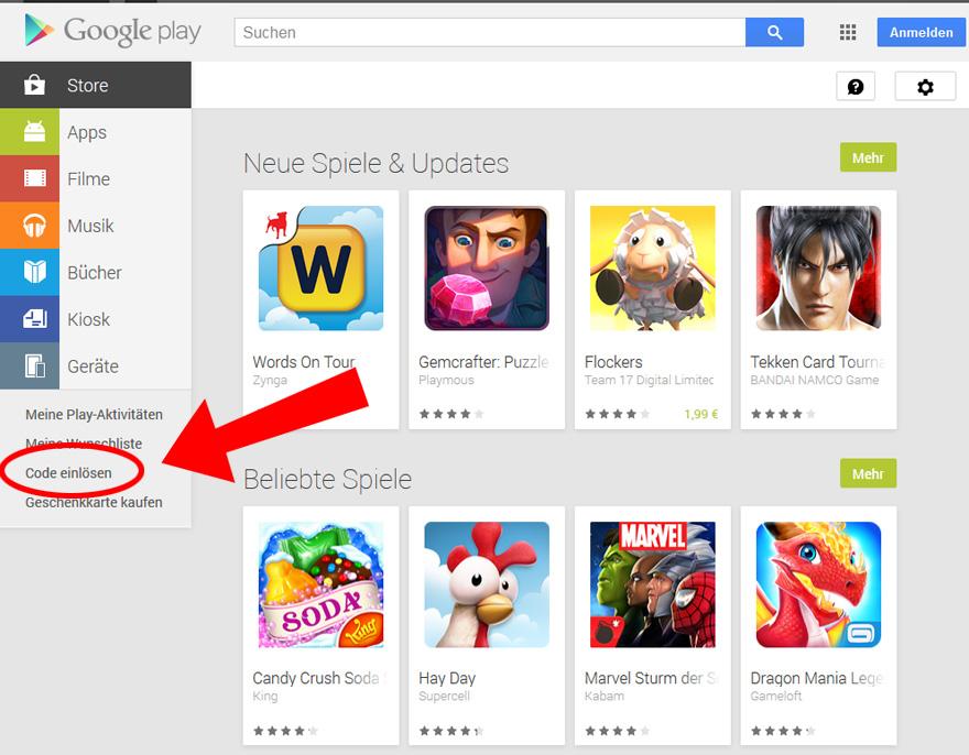 google-play-code-einloesen