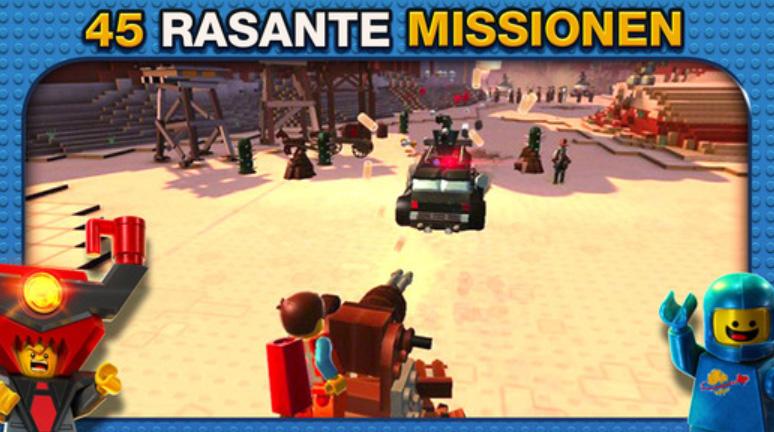 Die offizielle Spiele-App zum Lego-Film bietet verschiedene Spielarten, u.a. heiße Action-Szenen.