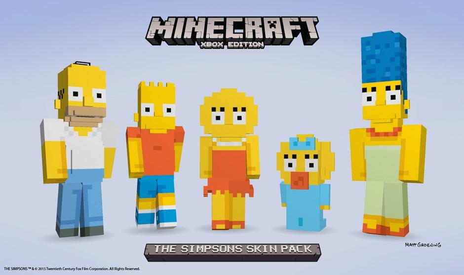 Lisa, Bart, Maggie, Marge und Homer. Bald kannst du sie auch in Minecraft zum Leben erwecken.