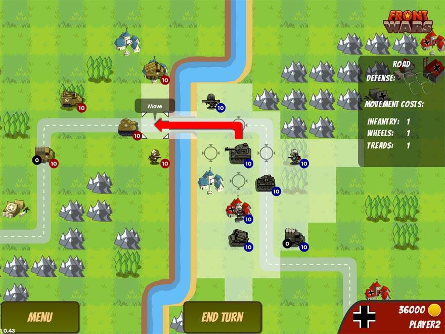 Ziehe mit deinen Truppen rundenweise nach vorne und attackiere die Gegner. Aber bedenke dabei den Radius der Truppen.