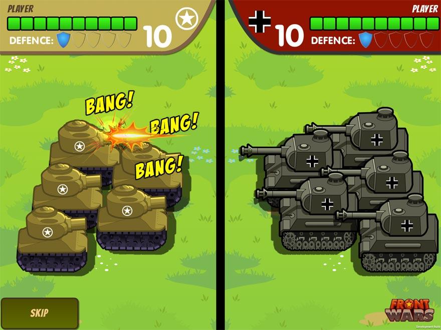 Kommt es zu einem Kampf zwischen zwei Einheiten, dann schaltet das Spiel in diese Ansicht, wo du dem Duell zuschaust, aber nicht mehr eingreifen kannst.
