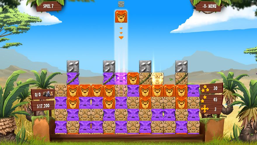 Lasse Kisten vom Himmel herab fallen, um die bunten Blockanordnungen aufzulösen - darum geht es in Safari Venture.