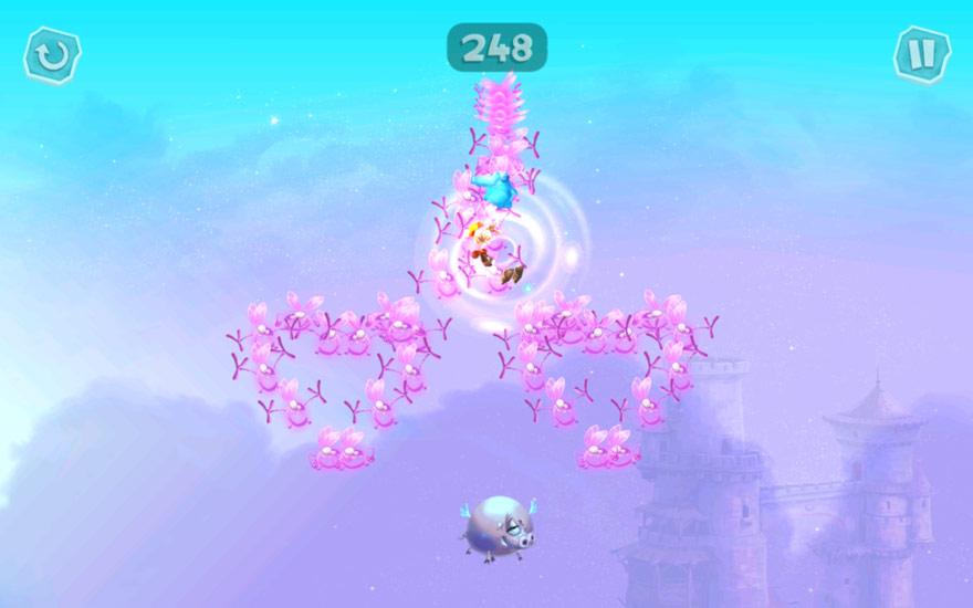 Witzig: Du springst auf fliegende Schweine, um Lums zu sammeln.