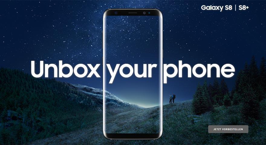 """""""Unbox your phone"""": So bewirbt Samsung sein neues Top-Handy."""