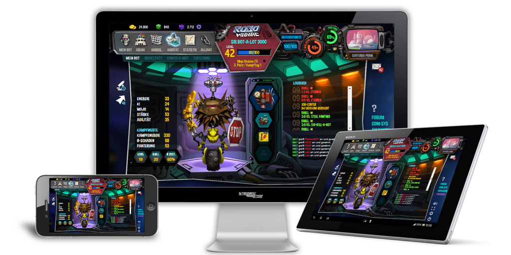 RoboManiac ist ein Multi-Plattform-Game. Du kannst es also auf dem Smartphone, Tablet und auf deinem PC zocken.