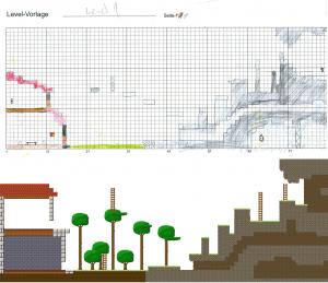 Anhand solcher Skizzen entstehen die Levels für Pixel Luther.