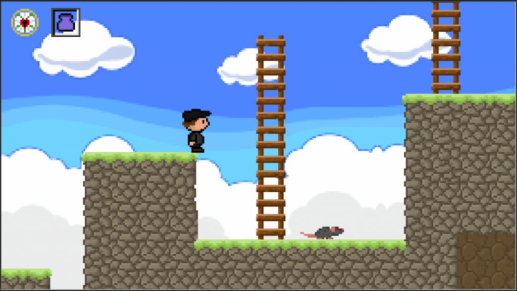 Pixel Luther: Ein Screenshot aus einer frühen Fassung des Jump&Runs.